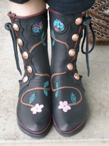 black buffalo w/ vine, flower, inlaid beadwork & special buttons